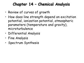 Chapter 14 – Chemical Analysis
