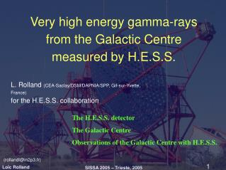 Very high energy gamma-rays from the Galactic Centre measured by H.E.S.S.