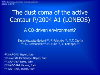 The dust coma of the active Centaur P/2004 A1 (LONEOS)