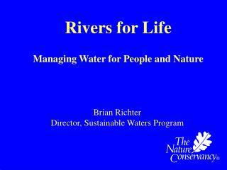 Rivers for Life Managing Water for People and Nature