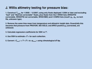 J. Willis altimetry testing for pressure bias: