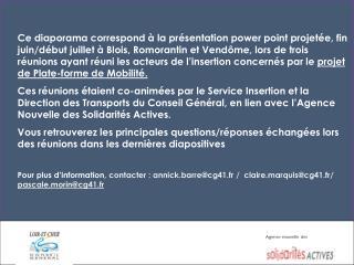 Réunion de présentation du projet: «  P lateforme  D épartementale de  M obilité »