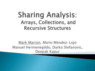 Sharing Analysis :  Arrays, Collections, and Recursive Structures