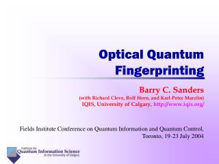 Optical Quantum Fingerprinting