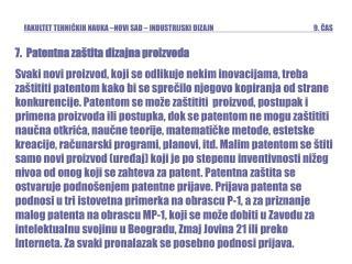 7.   Patentna za�tita dizajna proizvoda