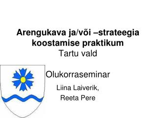 Arengukava ja/või –strateegia koostamise praktikum Tartu vald Olukorraseminar
