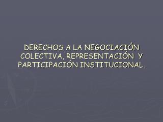 DERECHOS A LA NEGOCIACI�N  COLECTIVA, REPRESENTACI�N  Y PARTICIPACI�N INSTITUCIONAL.