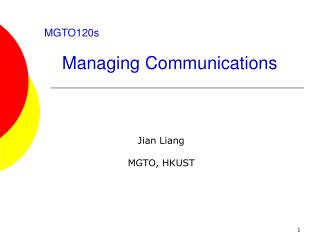 MGTO120s Managing Communications