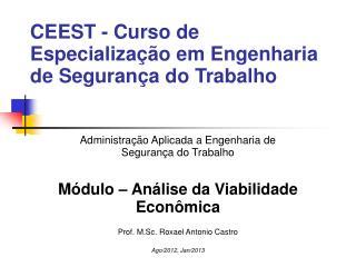 CEEST - Curso de Especializa��o em Engenharia de Seguran�a do Trabalho