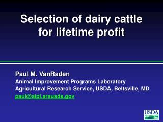 Selection of dairy cattle for lifetime profit