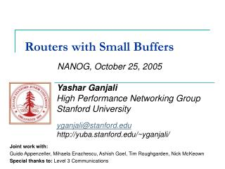 Routers with Small Buffers