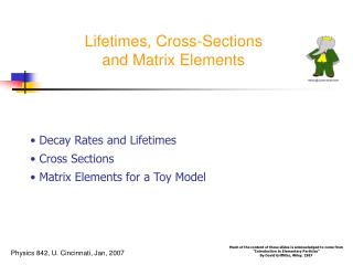Lifetimes, Cross-Sections and Matrix Elements