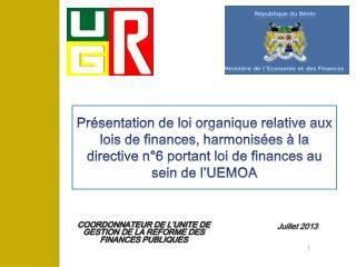 COORDONNATEUR DE L'UNITE DE GESTION DE LA REFORME DES FINANCES PUBLIQUES