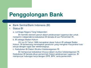 Penggolongan Bank