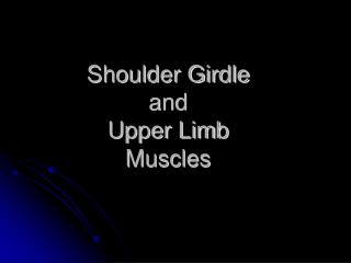 Shoulder Girdle  and  Upper Limb   Muscles