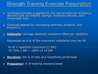 Strength Training Exercise Prescription