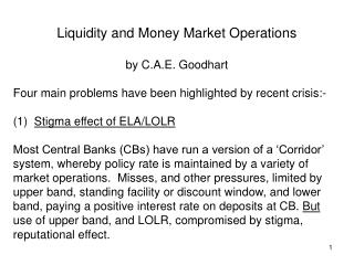 Liquidity and Money Market Operations by C.A.E. Goodhart
