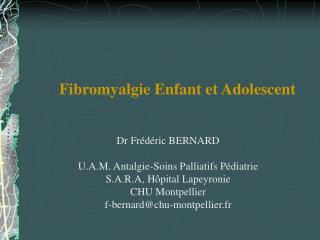 Fibromyalgie Enfant et Adolescent