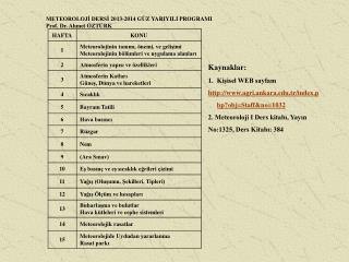 METEOROLOJİ DERSİ 20 13 -2014 GÜZ YARIYILI PROGRAMI Prof. Dr. Ahmet ÖZTÜRK