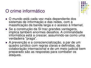 O crime inform�tico