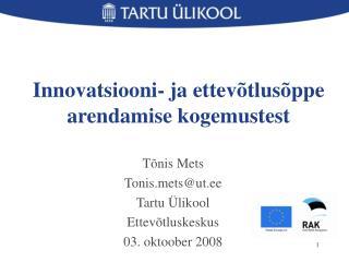 Innovatsiooni- ja ettevõtlusõppe arendamise kogemustest