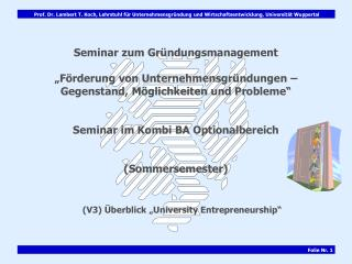 "(V3) Überblick ""University Entrepreneurship"""
