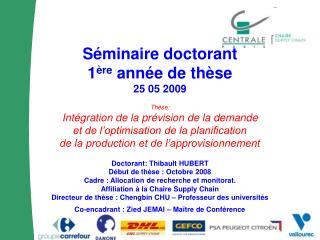 Séminaire doctorant 1 ère  année de thèse 25 05 2009