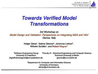 Towards Verified Model Transformations