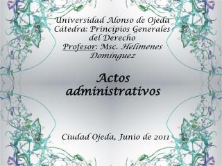 Universidad Alonso de Ojeda Cátedra: Principios Generales del Derecho