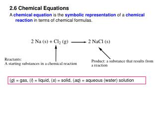 2.6 Chemical Equations