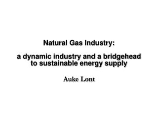 Natural Gas Industry:   a dynamic industry and a bridgehead to sustainable energy supply