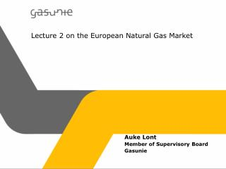 Lecture 2 on the European Natural Gas Market