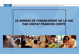 10 ANNEES DE FINANCEMENT DE LA VAE PAR UNIFAF FRANCHE-COMTE