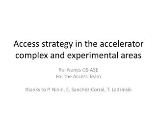 Access strategy in the accelerator complex and experimental areas