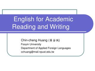 English for Academic Reading and Writing