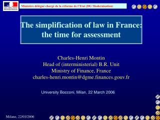 The simplification of law in France: the time for assessment