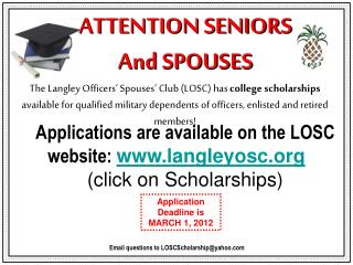 ATTENTION SENIORS   And SPOUSES