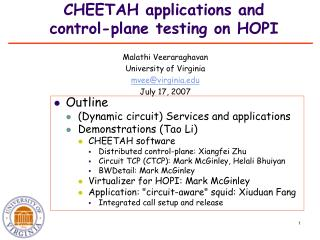 CHEETAH applications and control-plane testing on HOPI