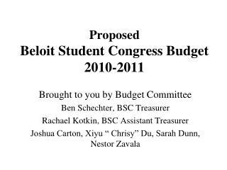 Proposed Beloit Student Congress Budget 2010-2011