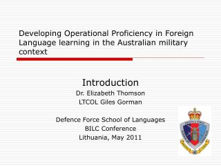 Developing Operational Proficiency in Foreign Language learning in the Australian military context