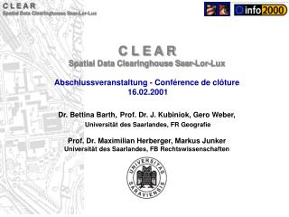 C L E A R Spatial Data Clearinghouse Saar-Lor-Lux
