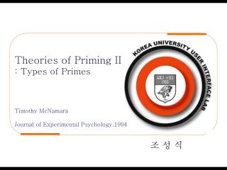 Theories of Priming II : Types of Primes Timothy McNamara Journal of Experimental Psychology,1994