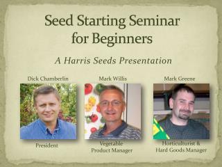 Seed Starting Seminar  for Beginners