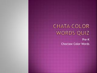 Chata  Color Words Quiz