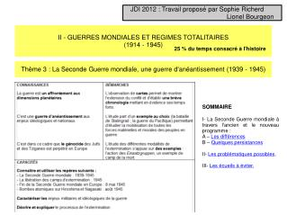 II - GUERRES MONDIALES ET REGIMES TOTALITAIRES (1914 - 1945)