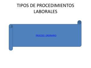 TIPOS DE PROCEDIMIENTOS LABORALES