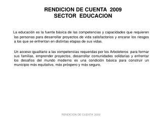 RENDICION DE CUENTA  2009 SECTOR  EDUCACION