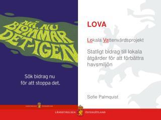S yfte med  LOVA F�rordning (2009:381) om statligt st�d till lokala vattenv�rdsprojekt