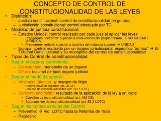 CONCEPTO DE CONTROL DE CONSTITUCIONALIDAD DE LAS LEYES