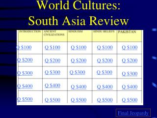 World Cultures:  South Asia Review